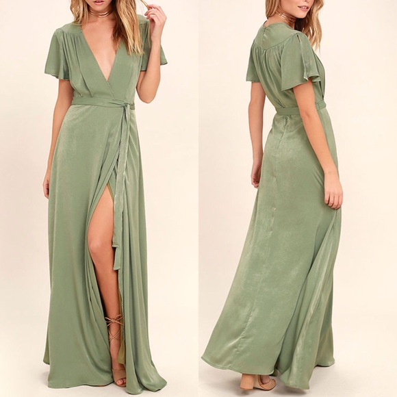 1863a2dd645 Lulus sage green soft wrap maxi dress